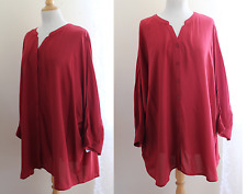 NWT Catherines -2X 22/24W Rayon Flowing Easy-Big Shirt Cranberry Tunic Shirt Top