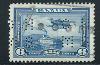 "Canada #OC6(3) PERFIN 1938 6 cent Monoplane ""O.H.M.S."" ""V"" for VICTORY SLOGAN"