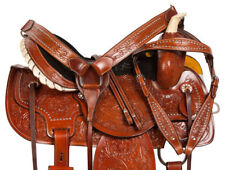 14 15 16 USED BROWN TOOLED WESTERN BARREL RACING RACER LEATHER HORSE SADDLE TACK