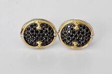 Konstantino Oval Cufflinks Black Spinel 18K Yellow Gold Sterling New Fabulous