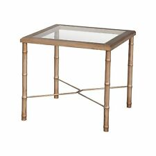 Gold Bamboo Antique Mahogany End Side Table Glass Asian Hollywood Regency New