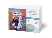 NEW Google Home Mini Smart Speaker Aqua with Disney Frozen II Book Bundle