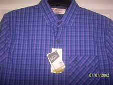 PENGUIN  Long Sleeved Shirt in Purple / Blue Check Size M