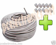 CAVO DI RETE 100 MT  ETHERNET UTP LAN  RJ45 NETWORK INTERNET + 10 PLUG CAT5