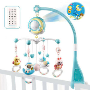 Baby Musical Crib Rattle Mobile Rotation Bed-Bell Toy With Remote Control 0-12M