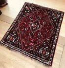 """4'2""""x 4'10"""" Square Antique Tribal Qashqai Hand-knotted wool  red field"""