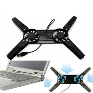 Laptop Dual Cooling Fan Cooler Pad Stand USB Base Cradle Notebook Computer