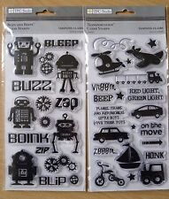 TPC Studio Clear Stamps, 2 Sets - Transportation & Blips and Bleeps, Robots Cars