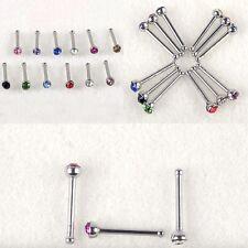 24PC 20G Lot Surgical Steel Crystal Rhinestone Nose Piercing Stud Bone Ring Bar