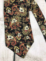 Disney Mickey Mouse Black Paisley Men's Neck Tie Silk Balancine Tie 60 x 3 3/4""