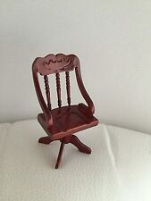 BNIB Dolls House Miniature Mahogany Study Chair