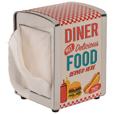 VINTAGE RETRO STYLE METAL AMERICAN DINER NAPKIN DISPENSER WITH 60 NAPKINS