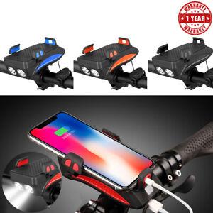 4in1 LED-Licht Telefonhalter Fahrradhupe Power Bank Frontständer Verstellbare