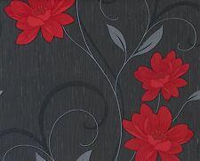 BELGRAVIA ANGELICA MODA BLACK RED GLITTER FLOWER DESIGNER VINYL WALLPAPER 1201