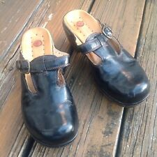 Clarks Structured Black Mary Jane Slip On Shoes Buckle Sz 7 Mules Leather Womens