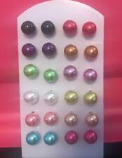 Stud Earrings  12 Pair Multi-Color Imitation Pearl 8mm Round Earring Stud Set