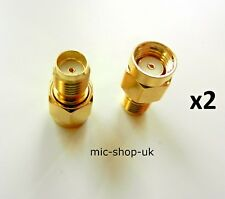 RP SMA Male Plug to SMA Female Jack WiFi Antenna Extender Adapter Gold  x 2