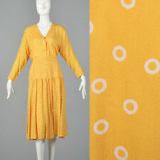 M 1980s Guy Laroche Set Matching Skirt Blouse Yellow Separates Casual Spring 80s