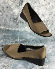 Aerosoles Calloway Womens Brown Stretch Fabric Slip-On Open Toe Shoes Size 7.5 M