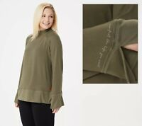 Peace Love World Bree Bell Sleeve Comfy Knit Top - olive (S)