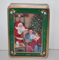 Oreo Cookie Holiday Tin 1993 Nabisco Advertising Empty Santa Claus Christmas