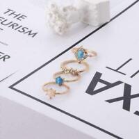 4 Stück Kristall Frauen Gold Über Knöchel Mode Fingerring Ringe gut Band X7 C0T5