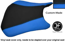BLACK LIGHT BLUE VINYL CUSTOM FOR HONDA CBR 600 RR RR5RR6 05-06 FRONT SEAT COVER