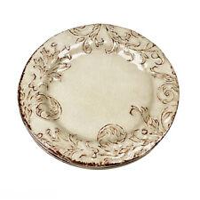 New listing Cynthia Rowley Filigree Scroll Beige Cream Melamine Side Salad Plates Set of 4