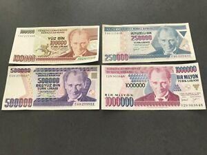 TURQUIE - Lot de 4 Billets