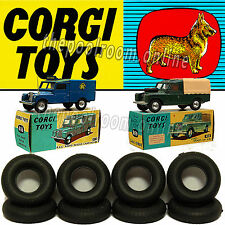CORGI TOYS TYRES X 10 - 17mm Black Round Tread For Early Land Rovers