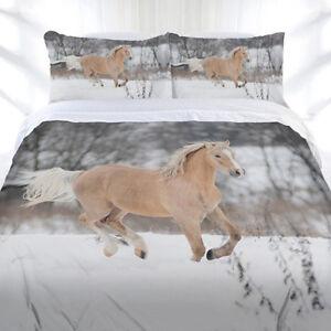 Horse Duvet   Doona Quilt Cover Set   Animal   Winter Gallop   Just Home Bedding