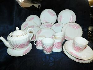 6 X ANTIQUE SMALL SIZE CHINA TRIOS + TEAPOT PINK FLORAL & SWIRL BODY 1871 MARK