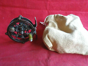 "A GOOD VINTAGE  2 3/8"" PFLUEGER PROGRESS SKELETON BRASS FLY REEL"