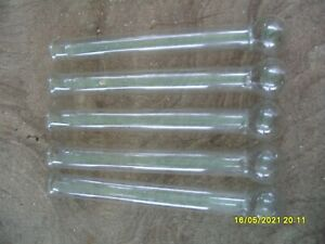 """VINTAGE 5  glass test tubes ROUND BALL ENDS  9 1/2"""" X 1"""""""