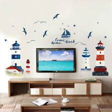 Nautical Boat Seagull Lighthouse Sea Ocean Home Wall Sticker Decals Mural Decor