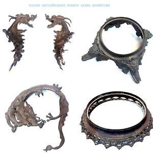 Stunning antique bronze asian Dragon anphore parts