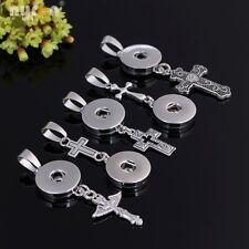 5pcs/lot  Cross Necklace Pendant Snaps Jewelry fit 18mm Snap Button DZ0102c