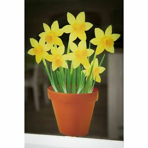 Spring Flowers in a Pot - Double Sided, Reusable, Static Cling Window Stickers
