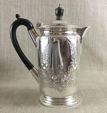 Antique Jug Vintage Silver Plated Water Coffee Pot Edwardian Engraved 19th C Vtg