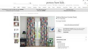 New! Pottery Barn Madras Plaid Curtains