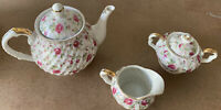 VTG Lefton China Hand-Painted Teapot Creamer Teacup Chintz Rose Design Beautiful