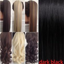 US Clip In Hair Extensions Deluxe Thick Ponytail Wrap Around Pony Tail Brown G15