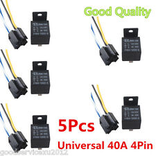 5 Pcs Black 12V 40A 4-Pin Car Automobile Premium Relay & 4 Pins Socket With Wire