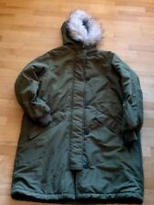 Nwt H & M Womens coat parker army green faux fur hood  L