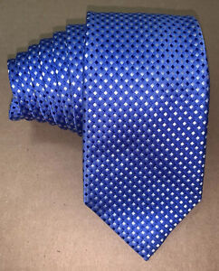 Charles Tyrwhitt Deep Blue & Silver Diamond Check Woven Silk Classic Neck Tie