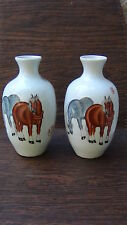 PAIR ANTIQUE CHINESE PORCELAIN HORSE VASES ,POEM  INSCRIPTIONS AND SEAL MARKS