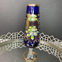 Bohemian Czech Moser Vase Blue Enamel Victorian Style Footed 10 Tall #EL8