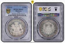 Hamburg 5 Mark 1913 PCGS MS62 Erhaltung ST- Kaiserreich Silber J.65 Silber Münze