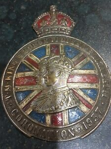 King George V1 Queen Elizabeth 1937 Coronation Metal Medallion Plaque Badge