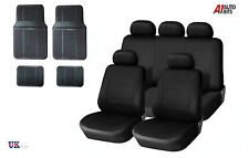 BLACK CAR SEAT COVERS & RUBBER CAR MATS SET FOR VAUXHALL CORSA ASTRA VECTRA